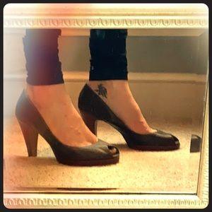Ann Taylor Loft Brown Peep Toe Wood Heel